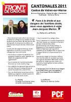 Cantonales 2011 : tract d'appel à faire barrage à la droite