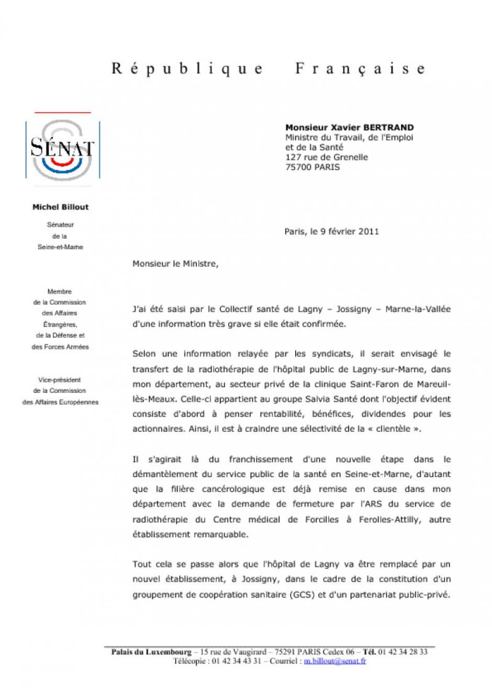 Michel Billout, à propos du service de radiothérapie de Lagny-sur-Marne